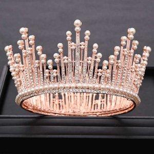 AiliBride strass perle or rose ronde Grande Couronne pour tiare de mariage Catwalk robe de mariée Coiffe Accessoires Bijoux de cheveux