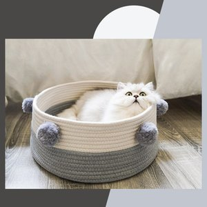 2020 Hot Sale Woven Cat Litter Four Seasons Universal Small Cat Dog House Villa Colorful Ball Decorated Bed Pet Supplies