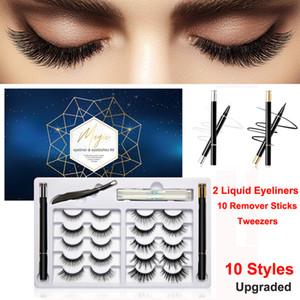 Non Magnetic Lashes 10 Pairs False Eyelashes and Eyeliner Kit No Glue Reusable Eyelashes with 2 Liquid Eyeliner+Tweezers+Remover Sticks