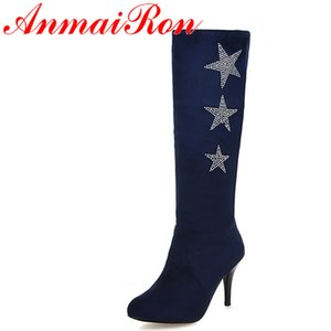 ANMAIRON Sonbahar İnce Topuklar Nubuk Yarım Çizme Kadınlar Boots 4 Renkler Yüksek Topuklar Rhinestone Yıldız Siyah Ayakkabı Kadın Kayma-on
