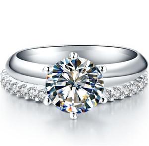 Test Positive 2CT 8mm D-E Moissanite Diamond Set Rings 925 Sterling Silver White Gold Cover Women Rings Set Female Jewelry