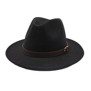 Seioum Новый стиль моды Широкий Брим Женщины Войлок Hat Шерсть Soild Fedora Cap для женщин ретро Hat элегантные дамы Джаз Шерстяные шапки