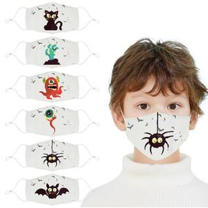 Bastão de Halloween tema tamanho abóbora bruxa alienígena crianças mascarar algodão neblina máscara de pó de impressão de banda desenhada estudante lavável máscara de pano