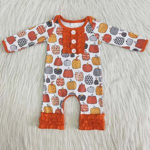 Hot Sale Baby Girls Romper Children Rompers Pumpkin Halloween Toddler Baby Clothes Boutique Romper Long Sleeve Cute Fall Romper New Arrived
