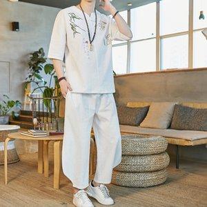 Hip Hop Tracksuit Male 2020 Men Clothing Chinese Style 2020 Summer Men Pants + T shirt Men's Suit 2 Pieces Sets Streetwear