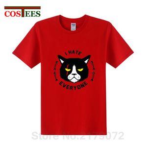 Пародия Я кот, что ненависть все тенниска мужчины Notorious Bad разъяренная кошка Мужские футболки животных напечатаны Tshirt хлопка битник Tops Tee