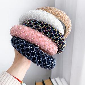 Bunte Kristallstirnband für Frau Luxus handgemachte wulstige Schwamm-Haar-Band-Brauthochzeitsfest Stirnbänder EEA2035