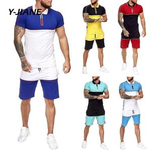 Мужские наборы лето 2020 Мода печати Рубашки мужские шорты + 2 шт костюмы мужчин с коротким рукавом рубашки Casual Male Одежда Комплекты Tracksuit # G3