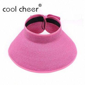 [CoolCheer] Fashion Women Lady Foldable Roll Up Sun Beach Wide Brim Straw Visor Hat Cap Floppy Summer Beach Women Casual Ac86#