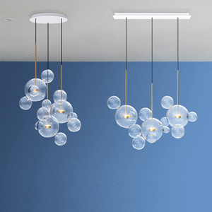 Nordic wongshi Modern Clear Glass Bubbles Chandelier Lighting Fixtures 90-260v Post Luminaria Led Pendant Lamp For Living room