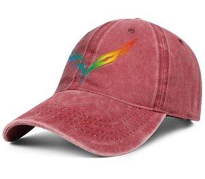 Stilvolle Corvette Regenbogen les Homosexuell Logo Unisex Denim Baseball Cap Entwerfen Sie Ihre eigene personalisierte Hüte Distressed Motorteile Nationalflagge