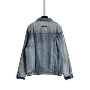 20SSS automne Hommes veste en denim Nouveau créateur rétro Denim manteau Heavy Industrie lave lavée et usée High Street Style Gold Metal Boucle Vestes