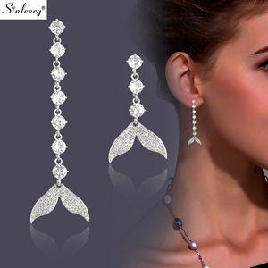 SINLEERY assimétrica Peixe Brincos de casamento da cauda para mulheres Cor Prata elegante do ouro jóias coreana brincos ES662 SSH