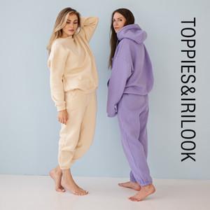 Toppies 2020 sudaderas con capucha de lana de invierno del otoño de dos piezas para mujer de los chándales de los pantalones gruesos basculador ropa de abrigo