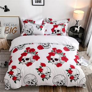 Skulls Bedding Set Rose Skull Duvet Cover Pillowcases Single Twin Queen King Size Polyester Bedlinen Home Textiles Dropshipping