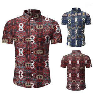 Designer Mens Stampa Camicie Casual Solid Camicie colori risvolto del collo della spiaggia di modo di stile camice Abbigliamento Uomo estivi