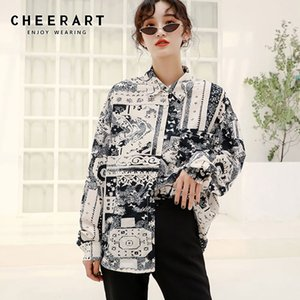 Cheerart Vintage Button Up Blouse Long Sleeve Shirt Women Black And White Print Loose Shirt Plus Size Tops Clothes 2020