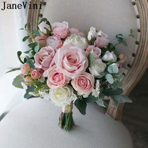 JaneVini Vintage Dusky Pink Flowers Wedding Bouquet Photo Charm Artificial Silk Rose Wedding Flowers Bridal Bouquets ramo flores