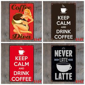Kahve Metal Giriş Vintage Teneke Demir DHB1614 Boyama Mutfak Coffee Bar Cafe Retro Metal Posterler için Plaket Metal Vintage Duvar Dekoru Sign