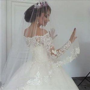 One Layer 3.5m*1.5m Soft Tulle Bride Wedding Veils Lace Applique Edge Bridal Veils Headpieces Hair Accessories