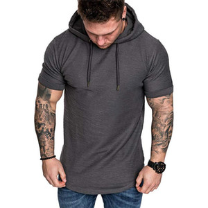 Man Folds Hooded T-Shirt Fashion Trend Casual Short Sleeve Tshirt Clothing Designer Male Summer New Natural Color Loose Tee Tops