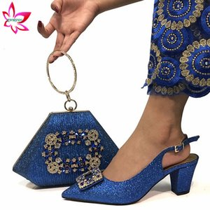 Royal Blue New Design High Quality Italian Women Shoes and Bag Set Nigerian Lady Shoes Matching Bag with Shinnign Crystal
