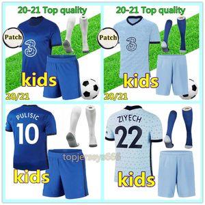20 21 첼시 축구 유니폼 키즈 WERNER PULISIC KANTE ABRAHAM MOUNT ZIYECH 축구 유니폼 키즈 2020 2021 축구 키트 첼시 유니폼 저지 티셔츠