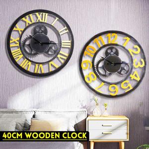 40cm madera engranaje del reloj de pared hueco fuera de Roma digital decorativo Campana de época de gran reloj de pared del restaurante Decoración de regalos