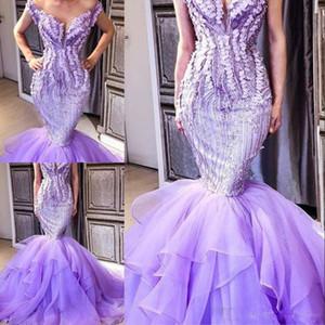 prom luz púrpura sirena viste saudi manga casquillo de las mujeres vestidos de noche arabia tren de barrido por niveles boda el vestido formal del partido hizo