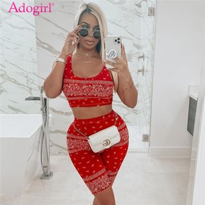 Adogirl Fashion Print Two Piece Set Cropped Tank Vest Top Skinny Shorts Women Tracksuit Summer Fashion Casual Sporty Suits 200919