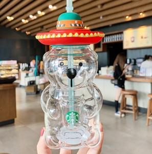 The latest 17OZ Starbucks bear style glass coffee straw cup, Starbucks double glass straw cup, free shipping