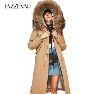 JAZZEVAR 2019 New Fashion Women's X-Long parka large real racoon fur Hooded Coat Outwear natural color Military Winter Jacket T200319