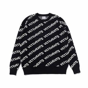 2020 Neueste Herbst-Winter-Europa Frankreich Vetements Allover Logo Pullover Art und Weise beiläufige Männer Frauen lösen Wollpullover Street