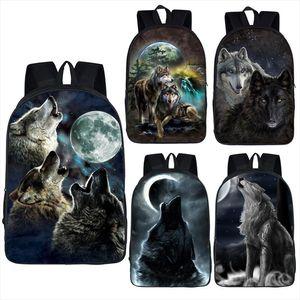 Wolf Husky Dog Print Backpack Men Women Casual Rucksack Children School Bags for Teenager Girls Boys Daypack Student Book Bag