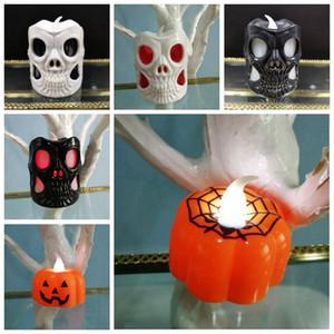 Cráneo de Halloween de luz LED electrónico luz de las velas de luz de la linterna de calabaza calabaza cráneo Noche Halloween Party Lámparas Ambiente Puntales VT1593