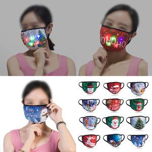 LED de Navidad máscara facial máscara máscaras de algodón de Navidad Decoración de la máscara de protección solar a prueba de polvo del oído que cuelga Tipo luminoso Máscaras XD23952