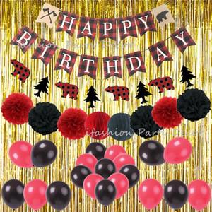 Birthday Party украшения для взрослых Мальчик Photobooth Backdrop Фольга Золотой занавес Дровосек партии Тема украшения стены сада