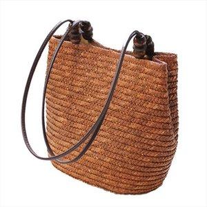 DCOS Вязаных соломы сумка лето Богема женщин способ сумка Stripes плечо сумка Пляжная сумка Большая Tote сумка Коричневая