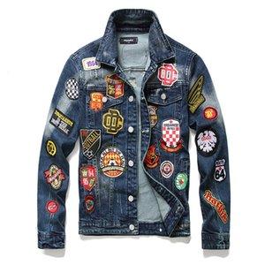 Badge coat fashionable men punk jeans men's personalized slim jeans jacket casual embroidery top men 4ESJ