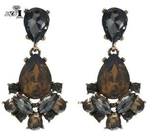 Yayi 쥬얼리 새로운 갈색 유리 회색 라인 석 매달려 크리스탈 귀걸이 여성 패션 고대 금색 보석 귀걸이 1165
