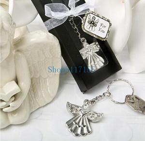 (100pcs Lot)+Cheap Wedding Party Souvenir Guardian Angel Key Ring Silver Keychain Baby Shower Favors
