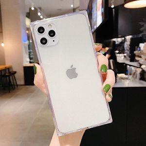 Квадратная противозванная конфета цветной чехол для телефона для iPhone 11 Pro SE 2020 x XR XS MAX 8 7 6 6S плюс прозрачный мягкий TPU задняя крышка