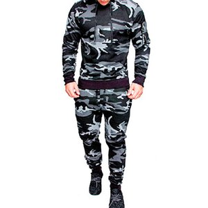 VERTIVE New Men Camouflage Sports Tracksuit Hoodies Sportswear Fitness Full Printing Casual Suit Running Bodybuilding Outfit
