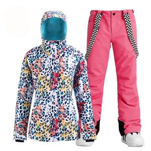 Nova moda Snow Leopard Mulheres desgaste Suit Vestuário Snowboard trajes impermeáveis ar livre do inverno Skiing Jacket + bibs calças de neve