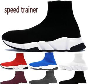 Cheap pairs speed trainer mens casual sock shoes triple black white grey royal prune luxury designer men women sneakers US 5.5-11