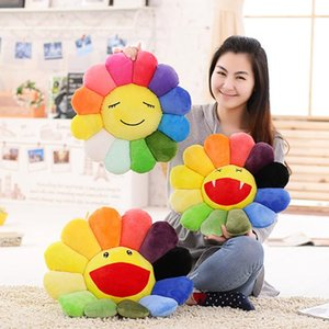 A004 Wholesale- 45CM Seat Cushion Colorful Rainbow Emoticon Pillow Sun Flower Doll Pillow Cushion Realistic Plush Toys Children Gifts
