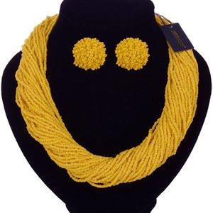 New 2019 Handmade Multi Strand Necklace Bohemian Beads Statement Necklaces Earrings Jewelry Set Bib Choker kolye collares MX200810