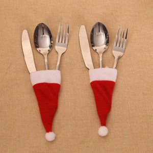 Hats Christmas Ornament Snowman Hat Gift Bag Knife Fork Cover Set For Home Party Dinner Decorations DHL Free Shipping GWE1783