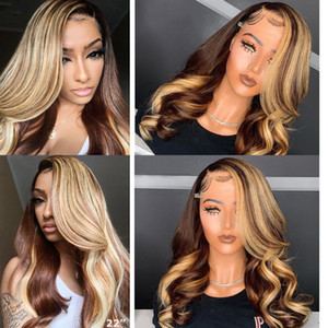 Brown Honey Blonde Perücke Highlight 13x6 Spitze-Front-Menschenhaar-Perücken Körper-Wellen-Atina Volle 360 ​​Lace Frontal Perücke Remy Hd Closure