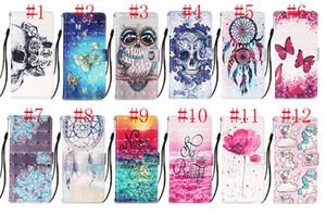 3D-Schädel-Leder-Mappe Einhorn-Blumen Traumfänger Owl Butterfly Flip Case für iphone 12 6.7 5.4 6.1inch Samsung NOTE20 Ultra-A21 A21S